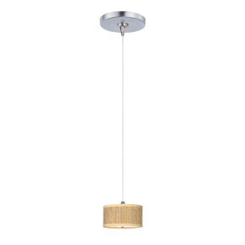 ET2 E95480-101SN Elements 1-Light RapidJack Pendant and Canopy Mini Pendant, Satin Nickel Finish, Glass, 12V GY6.35 T4 Xenon Bulb, 40W Max., Dry Safety Rated, Standard Dimmable, Glass Shade Material, 500 Rated Lumens ()