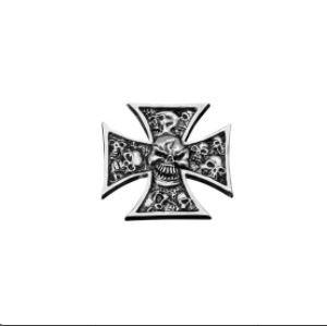 motivo Croce di Malta con teschio Adesivo in metallo cromato
