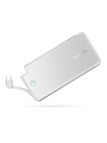 Luxtude PowerEasy 5000mAh Ultra Slim Portable Phone Charger for Samsung Galaxy, LG, Pixel and Android Cell Phone, Fast Charging USB C Power Bank Built in USB C Cable (Not for Micro USB Android Phone)