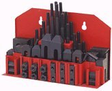 58 Piece Combination Step Block and Clamp Set - 3/8''-16 NC Studs, 1/2'' Clamps