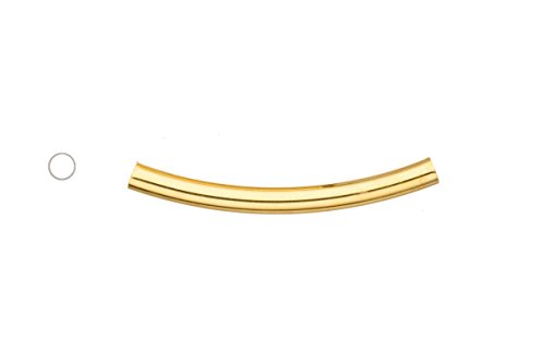 Light Weight Metal Tube Beads Gold Finished Round Curved Tube 5x50mm Sold per pack of 10 (3 pack bundle), SAVE $2