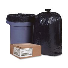 Trash Can Liners,Rcycld,55-60 Gal,1.25mil,38''x58'',100/BX,BK, Sold as 1 Box, 100 Each per Box