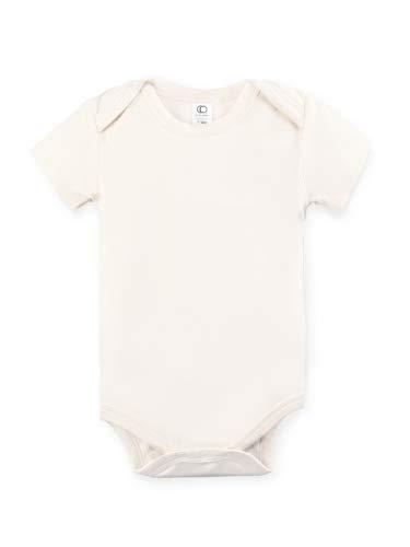 Colored Organics Unisex Baby Organic Cotton Bodysuit - Short Sleeve Infant Onesie - Tofu - 12-18M