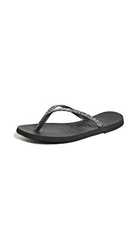 u Animals Sandal, Black,37/38 BR (7-8 M US) (Havaianas Print Flip Flops)