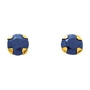 So Chic Bijoux © Boucles d'oreilles Femme Puces 4 mm Saphir Bleu Or Jaune 750/000 (18 carats)
