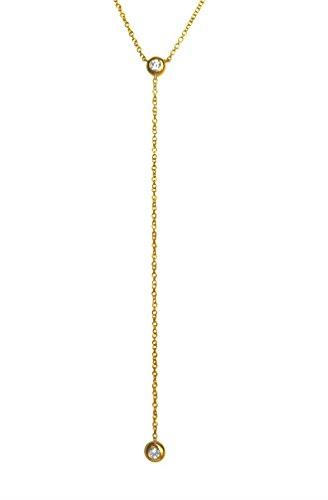 (Bezel diamond lariat necklace, 14k solid gold)
