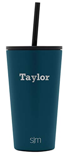Simple Modern Personalized Gift Tumbler Custom, Classic 16oz - Straw & Flip Lid, Riptide