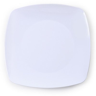Fineline Settings 10-Piece Renaissance Rounded Square China-Like Plate, 10-Inch, White