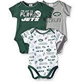 NFL New York Jets Unisex-Baby 3-Pack Short Sleeve Bodysuits, Green, 6-12 Months
