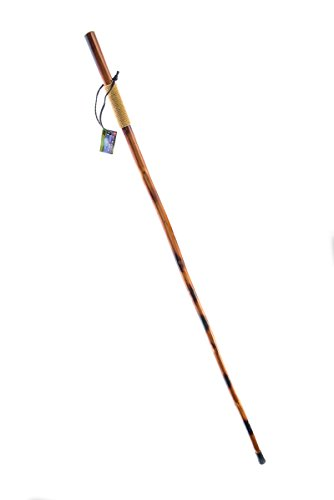 SE WS626-55PL Natural Wood Walking Stick with Rope-Wrapped Handle, Steel Spike & Metal-Reinforced Tip Cover, 55
