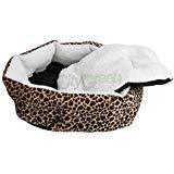 Small Pet Puppy Dog Cat Soft Fleece Cozy Warm Bed House Cotton Mat Lepard Print