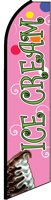 ICE CREAM (Pink) Flutter Feather Banner Flag (11.5 x 3 Feet) by Flagforest