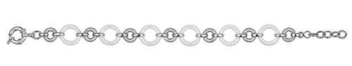 Ceranity - 1-32/0034-B - Bracelet Femme - Anneaux - Argent 925/1000 9.25 gr - Céramique - Oxyde de zirconium - Blanc - 19 cm