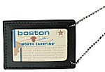 Boston Leather 5982-1 Neck Chain Double ID Holder, Black -