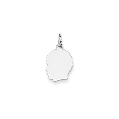 14k White Gold Small Facing Left Engravable Boy Pendant Charm Necklace Disc Girl Head Fine Jewelry Gifts For Women For Her (14k Cats Charms Gold White)