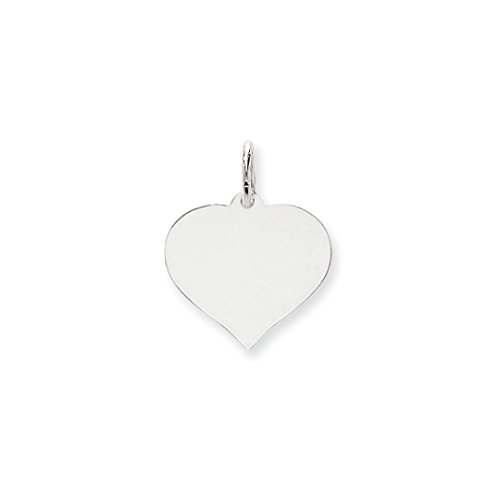 ICE CARATS 14k White Gold Heart Disc Pendant Charm Necklace Engravable Curved Shaped Fine Jewelry Gift Set For Women Heart