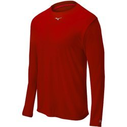 Mizuno Youth Comp Long Sleeve Crew Top, Red,