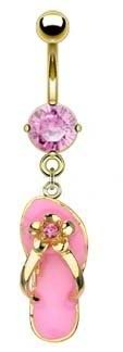 Pretty Pink Flip flop Sandle Gold plated Dangle Belly button Navel Ring 14 gauge