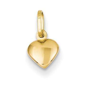 14k Solid Yellow Gold Small and Cute Hollow Puffed 3D Heart Charm (7mm) (Jewelry Pot 14k Gold Chain)