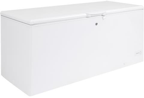 GE FCM22DLWW 74 Inch Freezer with 21.6 cu. ft. Capacity, White Door, Manual Defrost, Energy Star Certified, Power in White by GE