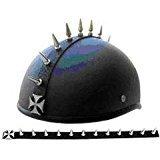 Maltese Cross Design Chrome Metal Helmet Mohawk Spike Strip Works On Any Helmet