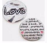 (Pewter Scripture Pocket Token: Love I Corinthians 13:4-8 - 1 1/8