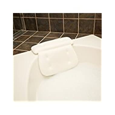 QuiltedAir Bath Pillow - Luxury Bathtub Pillow with 3D Air Mesh Technology, Machine Washable - Quick-drying and Includes Washing Bag and Travel Case, White
