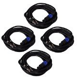 Seismic Audio B12SP25-4Pack 25-Feet Pro Audio Banana to Speakon Cable 12-Gauge, 4 Pack