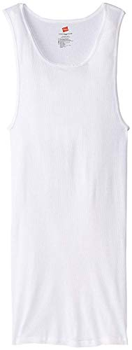 Hanes Men's Tall Man Ribbed Tank Top (Pack of Three) (White, Large Tall)