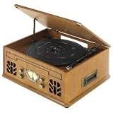 Antique Wood 4 in 1 Nostalgic Retro Wooden Music Centre Turntable Vinyl Record Player, CD, AM/FM Radio & Cassette Player - Music System - UK Model