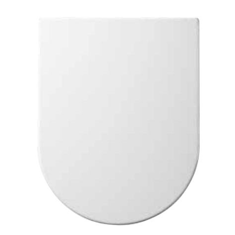 Euroshowers ONE Seat Short D Shape Soft Close Toilet Seat White by Euroshowers