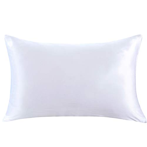 ZIMASILK 100% Mulberry Silk Pillowcase for Hair and Skin,Both Side 19 Momme Silk, 1pc (Queen 20x30, White)