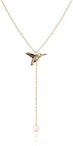 MaeMae 14k Gold Dipped Hummingbird Pendant Necklace, Rose Quartz Stone, 14k Gold Filled Chain, 16