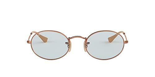 Ray-Ban RB3547N Oval Evolve Photochromic Sunglasses, Copper/Light Blue Photochromic, 51 mm
