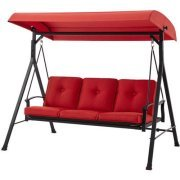 Mainstay Belden Park 3-Person Hammock Swing Color: Red Rust-Resistant - Canopy Painted Bed