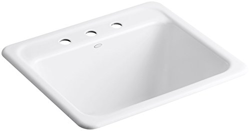 KOHLER K-19017-3-0 Glen Falls Top-Mount/Undermount Utility Sink with Three Faucet Holes, White by Kohler