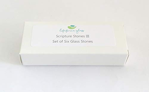 Scripture Glass Stones, Six of Your Favorite Inspiring Bible Verses on Translucent and Opaque Rocks, by Lifeforce Glass.Set III.