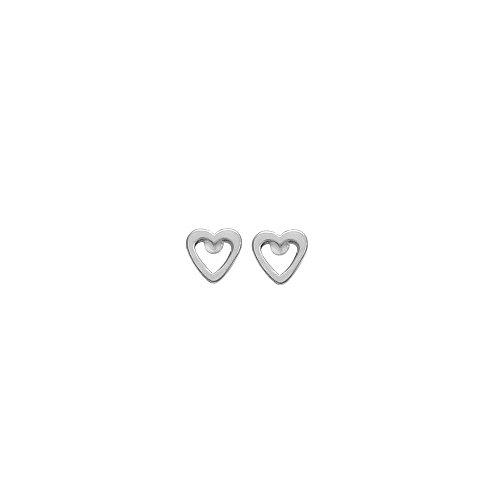 - Boma Jewelry Sterling Silver Open Heart Stud Earrings