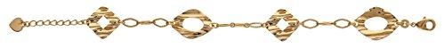 So Chic Bijoux © Bracelet Femme Longueur Réglable: 17 à 20 cm Anneaux Striés 4 Losanges Arrondis Plissés Froissés Plaqué Or 750