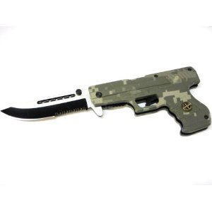 Unique_Gear Pistol Shaped Camo designs Spring Assisted Pocket Knife, 8″ overall,, Outdoor Stuffs