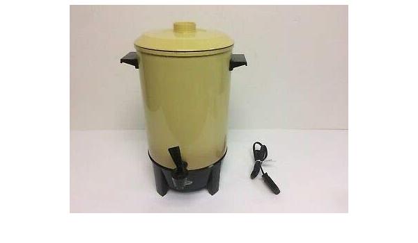 Vintage MCM Retro Decor Hippie Yellow West Bend 30 Cup Coffee Percolator Floral Green Orange Nice Complete