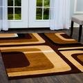 Home Dynamix Premium Narmada Area Rug by Mid-Century Modern Style Living Room Rug | All-Over Rectangular Print | Contemporary Art-Deco Design in Neutral Colors| Black, Beige, Brown 7'8'' x 10'7''