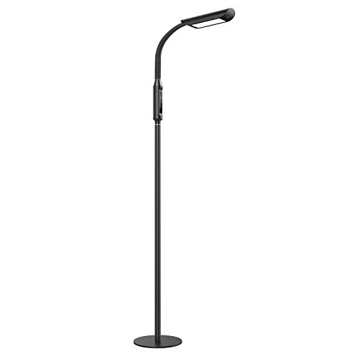TaoTronics Dimmable LED Floor Reading Lamp for Living Room, 1815 Lumens & 50,000 Hours, Lifespan, Standing Lamp Desk Lamp Two in One, Flexible Gooseneck, Touch Control Panel, 12W