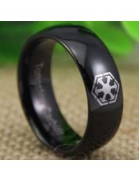 Black Tungsten Band with Domed Edge Star Wars Sith Design Ring