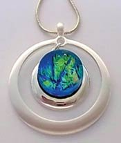 Contemporary Jewelry Findings - Drop Circle Pendant for Your Fused Cabochon (Fused Glass Drop Pendant)