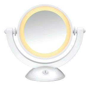"Conair Vanity Mirror: Double Sided Rotating Lighted 3x/1x Magnification Modern White Finish Size: 7"" Diameter (179mm)"