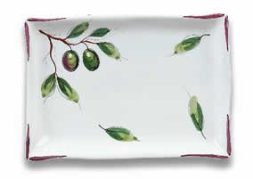 Hand Painted Rectangular Tray With Olives From Italy