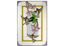 Hummingbirds & Fuchsia, Vertical Painted Art Glass Panel ()