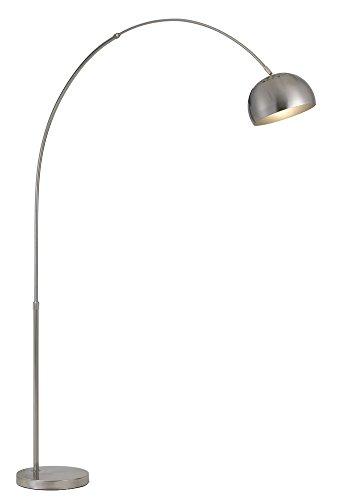 85 in. Metal Floor Lamp in Brushed Steel - Transitional Arc