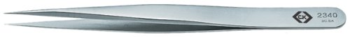 C. K Tools T2340 Stainless Steel Precision Tweezers, Fine, Sharp, Straight Tips, 4 1/2-Inch OAL